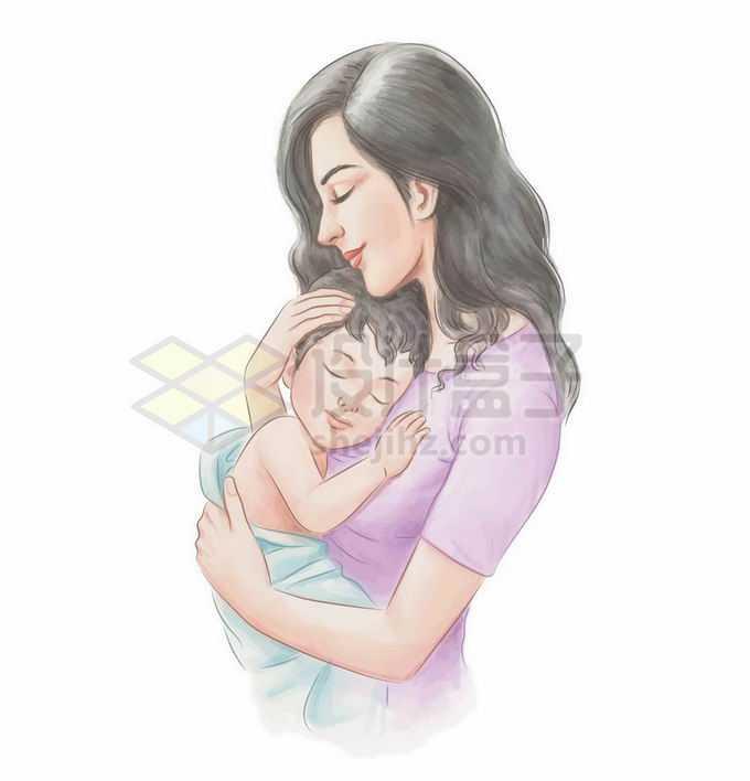 宝宝趴在妈妈怀中睡觉彩绘插画3888673矢量图片免抠素材