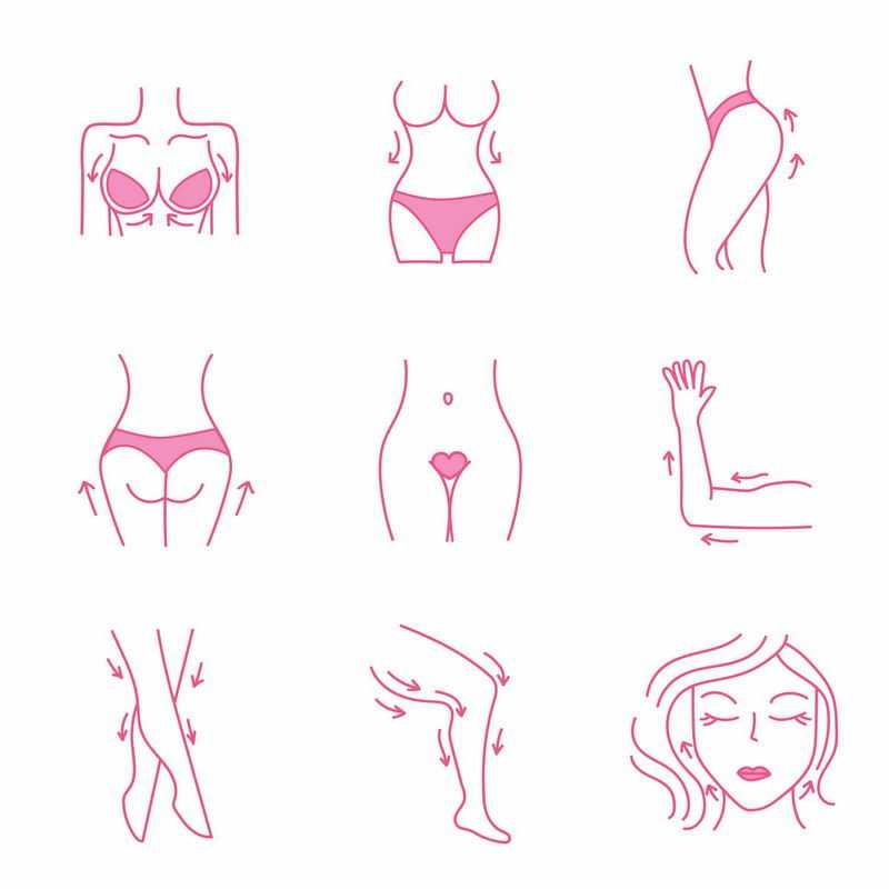 9款玫红色女性按摩胸部腰部臀部腿部手肘部脸部等线条人体模型1487427矢量图片免抠素材