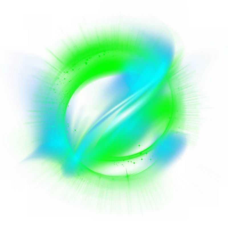 绚丽的蓝色绿色彩色光芒光晕光圈发光抽象光球效果6332873免抠图片素材