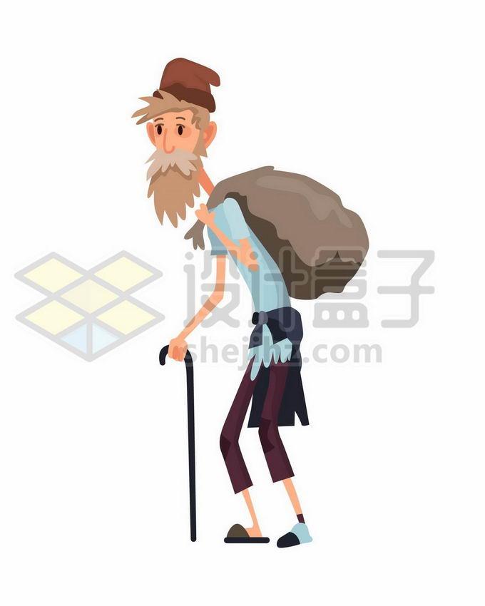 拄着拐杖的穷苦老人流浪汉无家可归者背着行囊卡通插画7436162矢量图片免抠素材