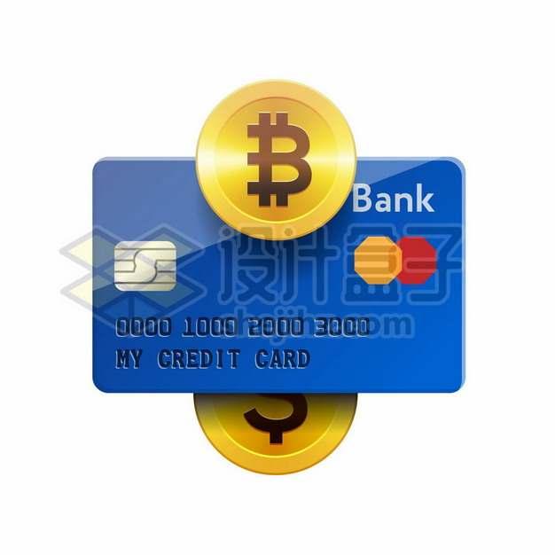 蓝色的银行卡信用卡和比特币金币9069320矢量图片免抠素材