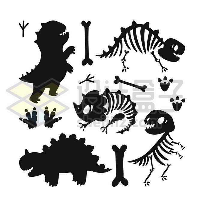 可爱的卡通恐龙和恐龙骨架剪影6942985矢量图片免抠素材