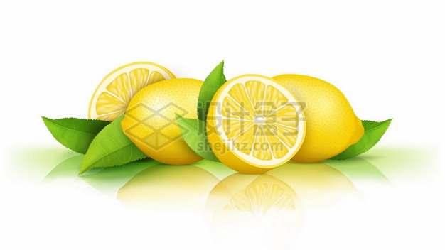 切开的黄色柠檬和绿叶装饰美味水果7571527矢量图片免抠素材