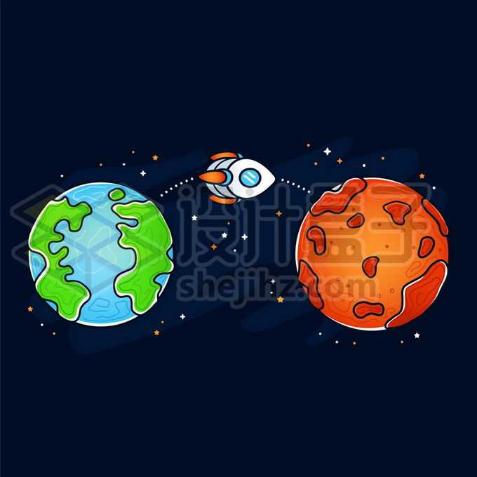 卡通地球和卡通火星以及卡通飞船象征了火星探索手绘儿童插画7423909矢量图片免抠素材