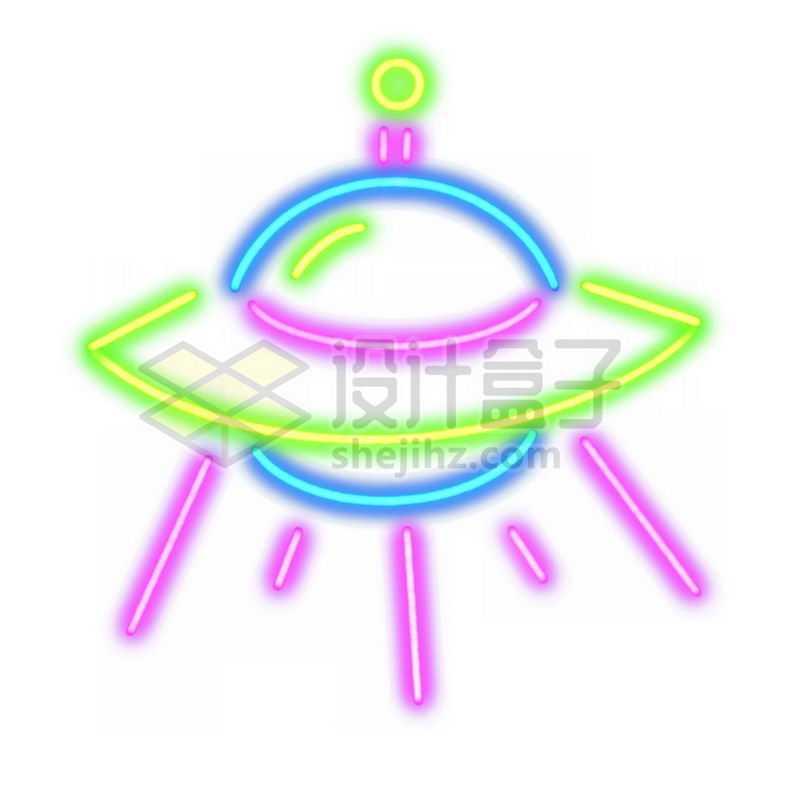 霓虹灯风格发光线条卡通飞碟9379128免抠图片素材