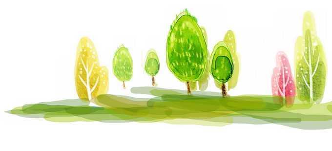 大树和草原手绘涂鸦风格儿童水彩画6638728png免抠图片素材
