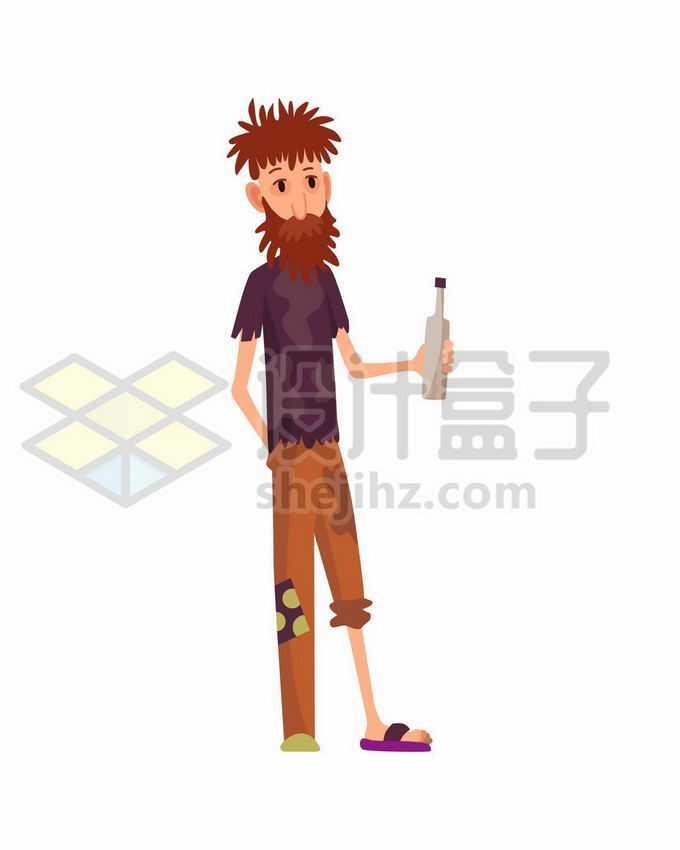 拿着酒瓶的酒鬼无家可归者流浪汉卡通插画3446184矢量图片免抠素材