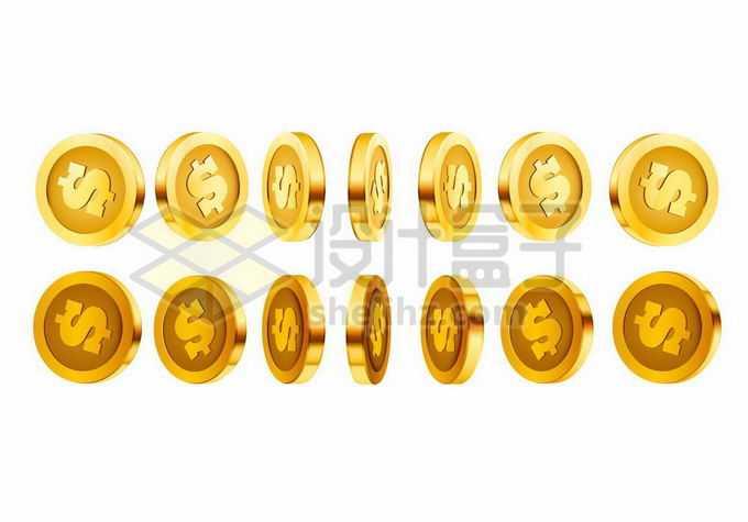 3D立体风格各种不同角度的美元符号金币硬币2962320矢量图片免抠素材