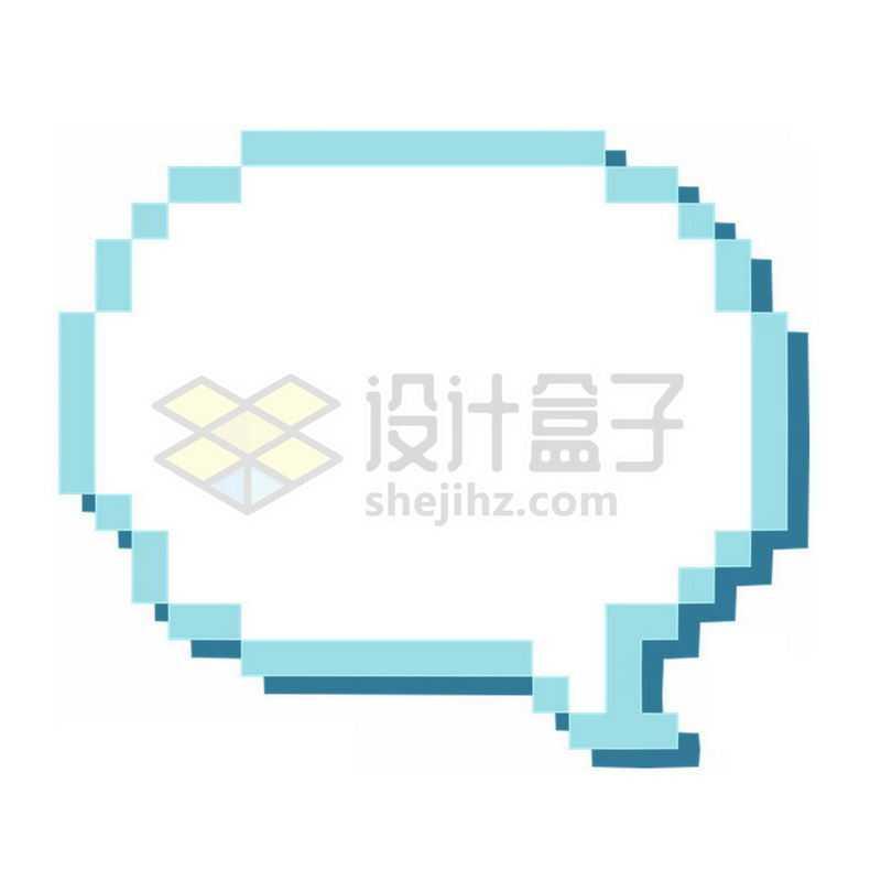 蓝色的像素风格对话框6321737免抠图片素材