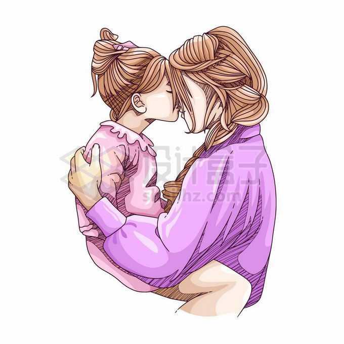 妈妈抱着女儿亲吻妈妈的额头母亲节手绘插画3176631矢量图片免抠素材
