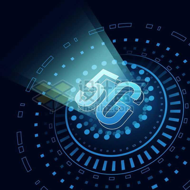 蓝色发光效果科技圆盘和5G移动通信技术1254579免抠图片素材