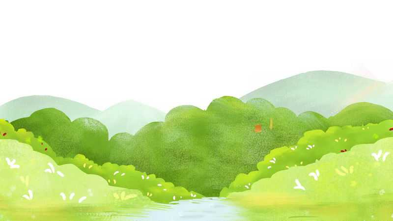 水彩画风格的夏天夏日绿色的树林和远山小溪风景2080446png免抠图片素材