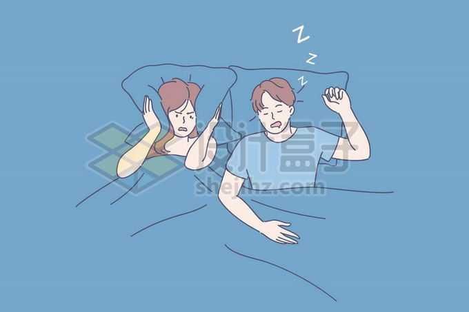 老公睡觉打呼老婆受不了手绘线条插画6884226矢量图片免抠素材
