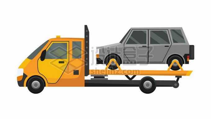 黄色的交通事故拖车清障车上的汽车6598841矢量图片免抠素材