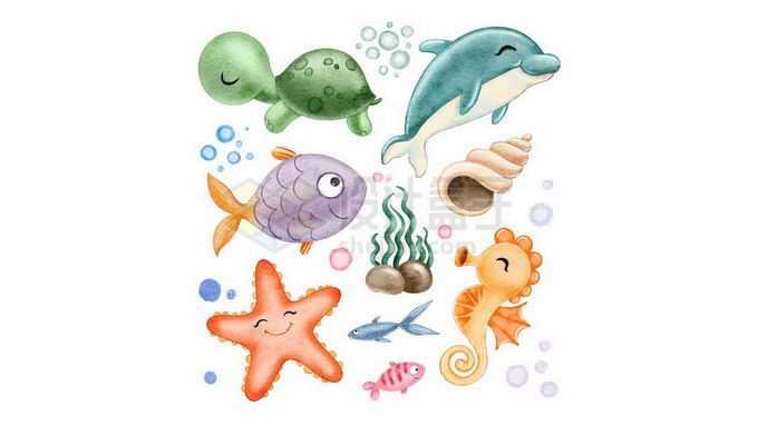 超可爱的卡通乌龟海龟海豚海鱼海螺海星海马等海洋动物水彩插画3458058矢量图片免抠素材