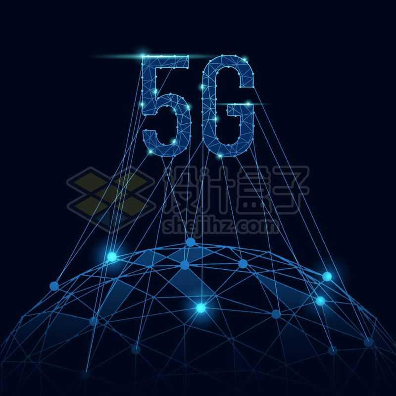 蓝色发光效果线条多边形地球和5G移动通信技术7251674免抠图片素材
