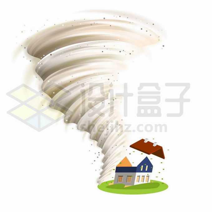 一款灰黄色的龙卷风将房子刮倒自然灾害现象9966636矢量图片免抠素材
