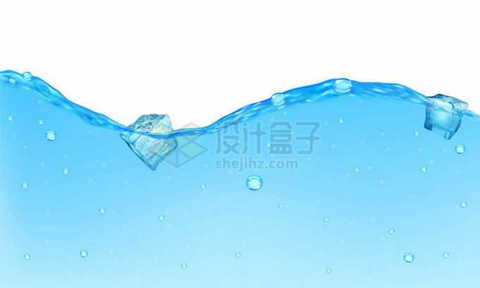 蓝色水面上飘着的蓝色冰块碎冰方块效果4701626矢量图片免抠素材