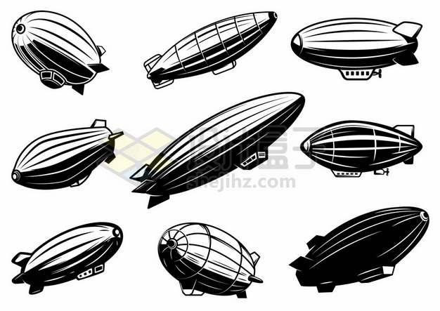 9款黑色漫画风格的飞艇空中交通工具9340573矢量图片免抠素材