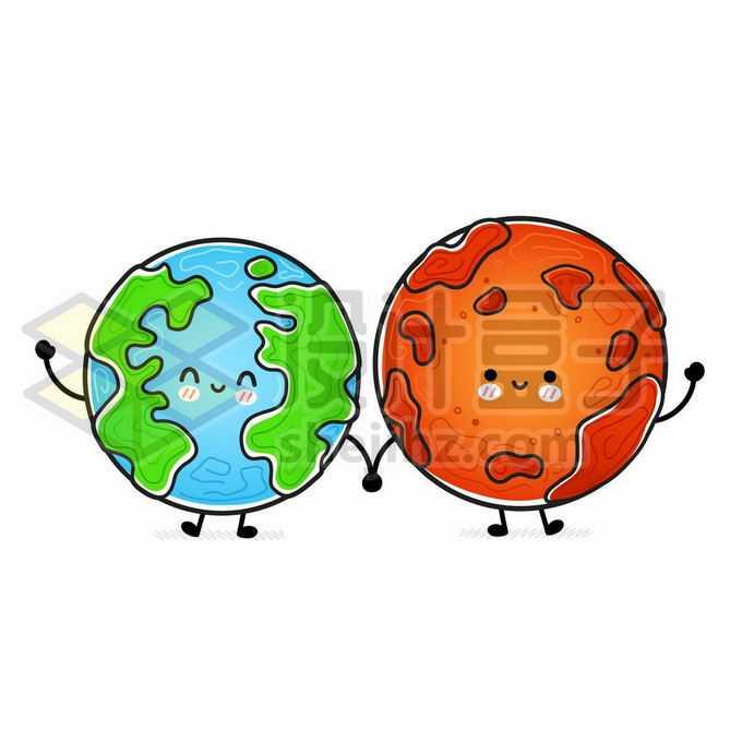 超可爱的卡通地球和卡通火星手拉手手绘儿童插画1049812矢量图片免抠素材