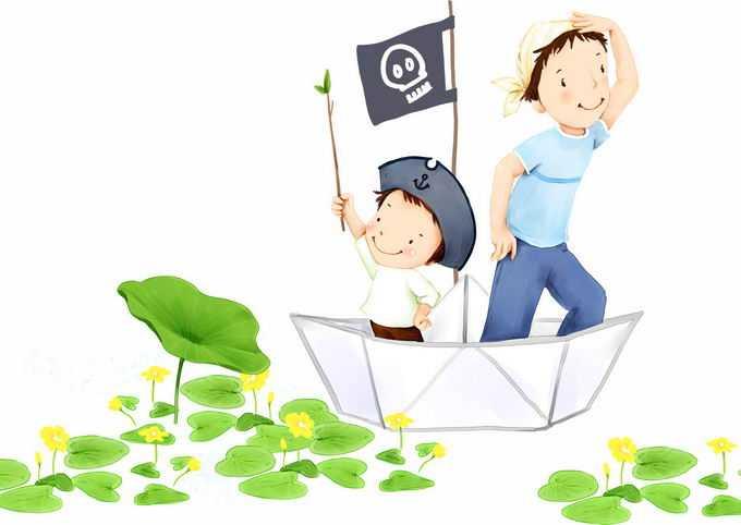 2个卡通小朋友坐在纸船上装作海盗船游荡在荷叶之间儿童节插画8601222png免抠图片素材
