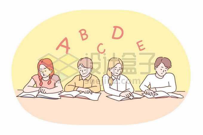 一群正在认真学习看书读书的好学生好孩子手绘线条插画4884374矢量图片免抠素材