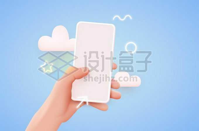 唯美风格的一只手拿着手机单手操作2533344矢量图片免抠素材