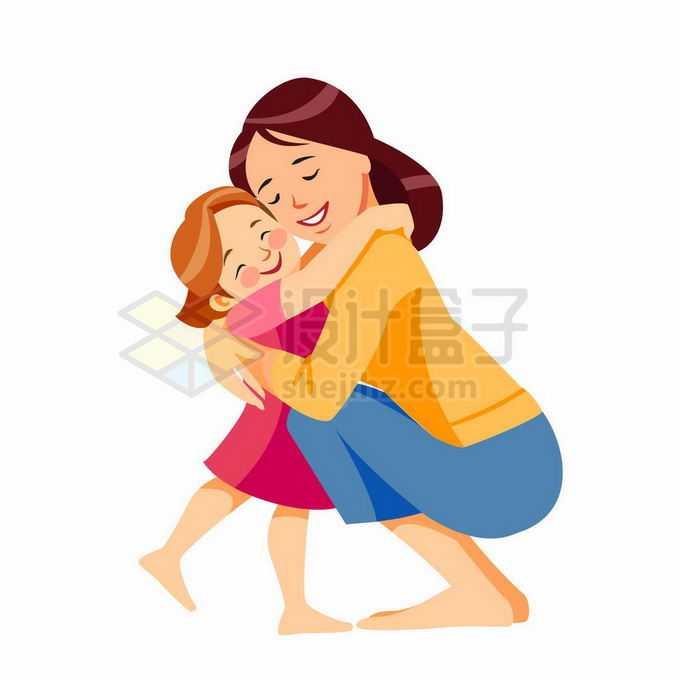 卡通妈妈蹲着抱着女儿想妈妈母女情深母亲节插画8661735矢量图片免抠素材