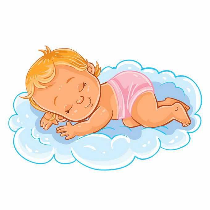 卡通小宝宝睡在淡蓝色的云朵上4524024矢量图片免抠素材