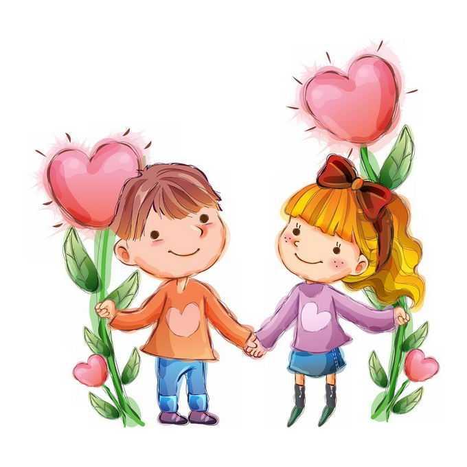两个拿着心形花朵的卡通小朋友交朋友儿童节插画7025743png免抠图片素材