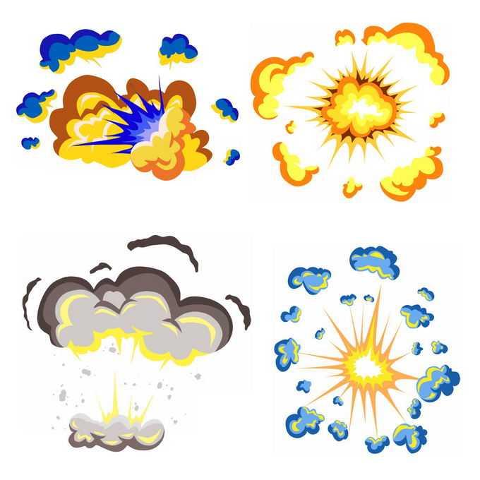 4种卡通漫画风格的彩色爆炸效果2738158矢量图片免抠素材