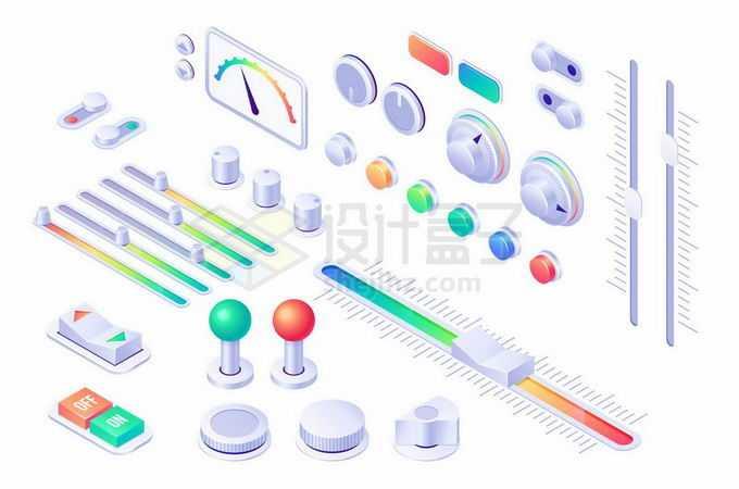 各种各样逼真的3D控制按钮开关旋钮和仪表盘显示2655733矢量图片免抠素材