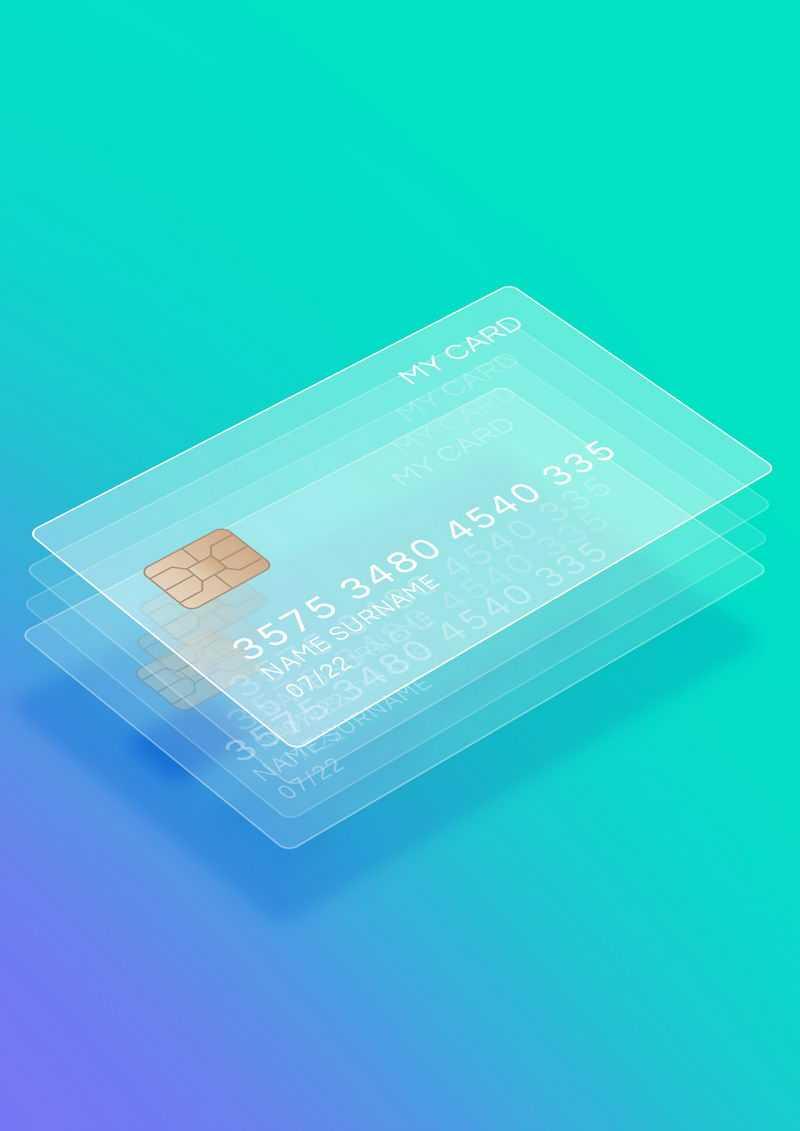 分层显示的毛玻璃半透明效果银行卡7662069免抠图片素材