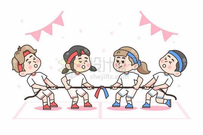 参加校园运动会拔河比赛的两队卡通小学生4796444矢量图片免抠素材