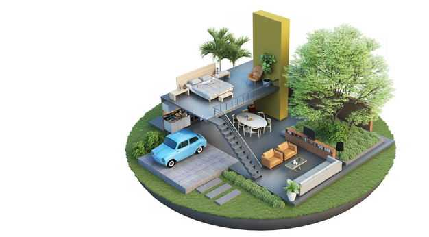 3D立体风格悬空岛多层豪华别墅内部结构和庭院装修效果图3403491免抠图片素材