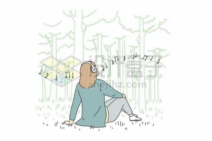 坐在树林的草坪上戴着耳机听音乐的女孩手绘线条插画6703929矢量图片免抠素材