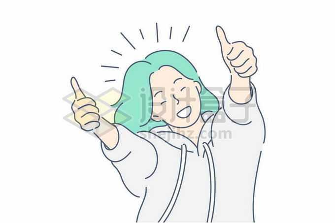 绿头发的线条女孩举起双手为你点赞手绘插画6042667矢量图片免抠素材