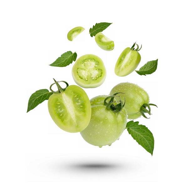 切开的青西红柿绿番茄美味蔬菜3422489免抠图片素材