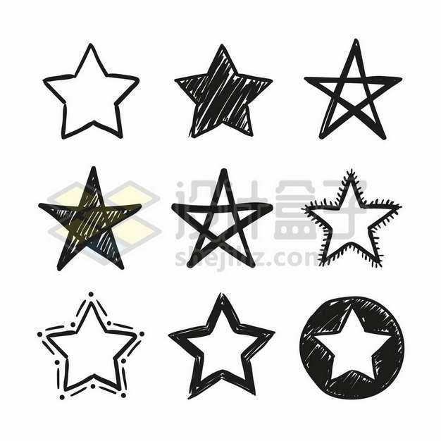 9款黑色手绘涂鸦风格的五角星6325741矢量图片免抠素材