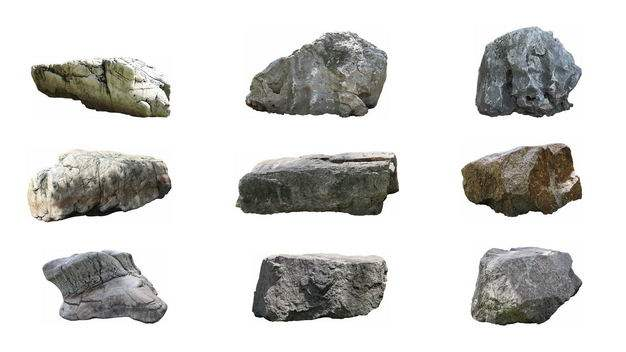 9种石头园林石景观石观赏石头假山石天然石头5258831免抠图片素材