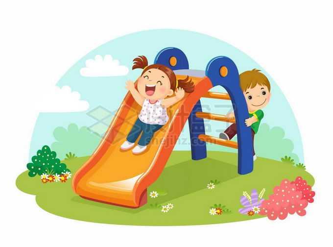 两个卡通小朋友正在玩滑滑梯儿童节插画2247719矢量图片免抠素材