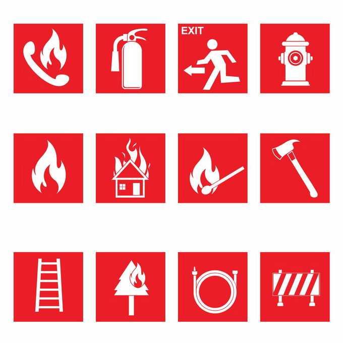 火警电话灭火器逃生出口消防栓等火灾警示标志5025381矢量图片免抠素材