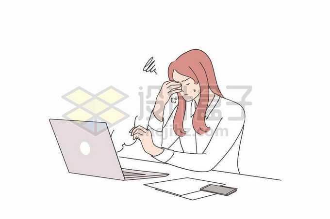 面对工作烦恼得揉捏眼睛的商务女士手绘线条插画2087301矢量图片免抠素材