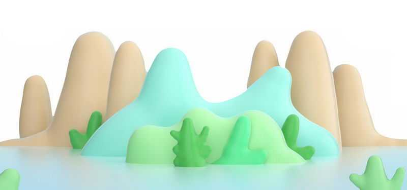 漂亮的3D风格的青山绿水高山风景3200204png免抠图片素材
