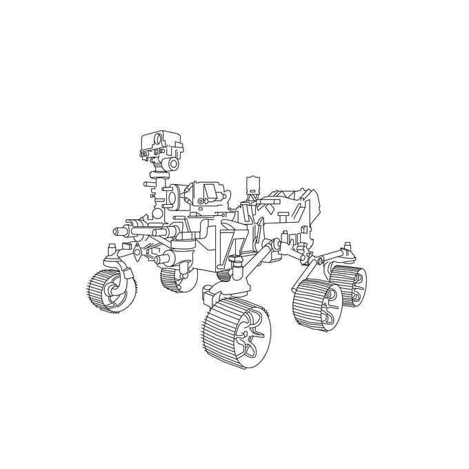 毅力号火星车美国火星探测车手绘线条插画6068674png免抠图片素材