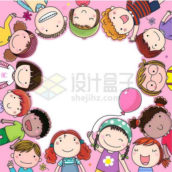 各个卡通小朋友围成一圈儿童节边框文本框信息框8488130矢量图片免抠素材