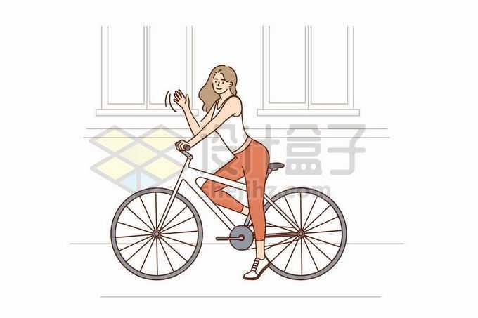 骑自行车的紧身衣健身健美女孩手绘线条插画7217582矢量图片免抠素材