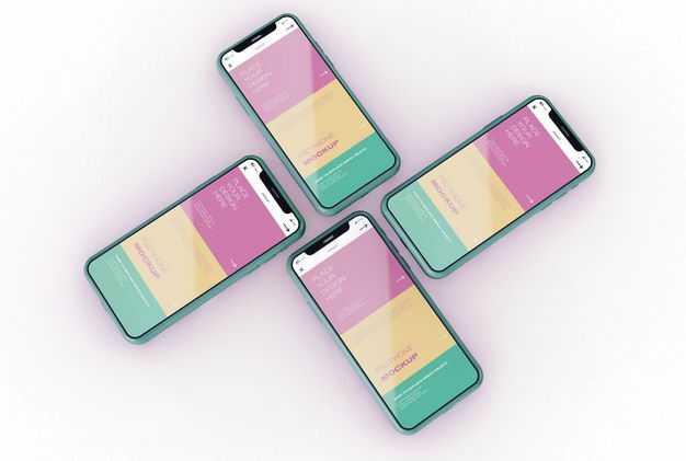 排列整齐的4个绿色苹果iPhone12手机显示样机2596206图片素材