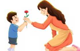 母亲节卡通男孩送花给妈妈7421555免抠图片素材