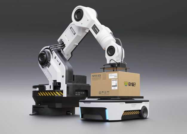 工业机器人机械手臂正在将货物箱子放在无人搬运车上样机7742087图片素材